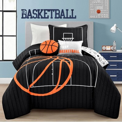 Basketball Game Quilt Set Black/Orange - Lush Décor