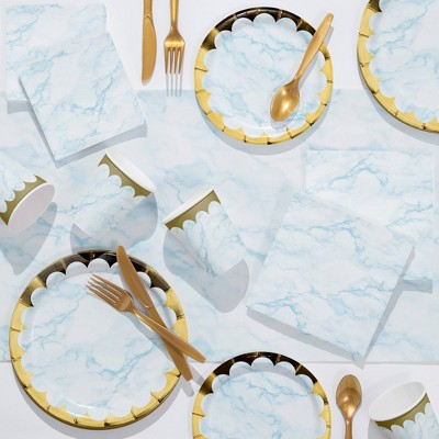 Marble Deluxe Party Supplies Kit Blue