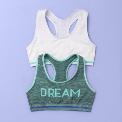 Girls' 2pk Dream Sports Bra - More Than Magic™ Green/White - image 1 of 2