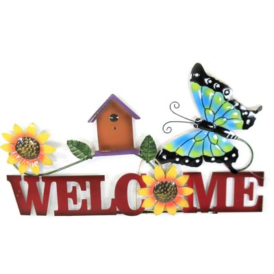 """Home & Garden 20.5"""" Butterfly Welcome Sign Poke Yard Decor Planter Stake Direct Designs International  -  Decorative Garden Stakes"""