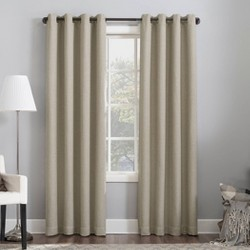 "Sun Zero Baxter Theater Grade 100% Blackout Grommet Curtain Panel Stone 52""x95"""