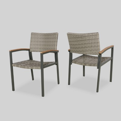 Luton 2pk Wicker & Aluminum Patio Dining Chair - Gray - Christopher Knight Home