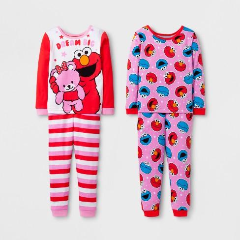 c62b80b672 Toddler Girls  Sesame Street 4-Piece Pajama Set - Red 3T   Target