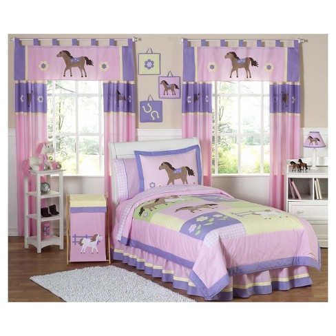 Pink Purple Pretty Pony Comforter Set Twin Sweet Jojo Designs
