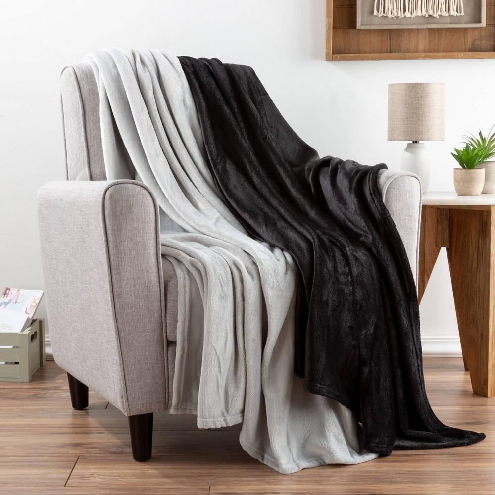 "Image of ""2pk 60""""x50"""" Fleece Throw Blanket Black/Gray - Yorkshire Home"""