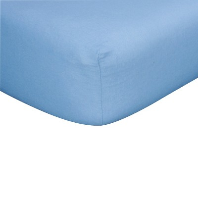 Blue Flannel Fitted Crib Sheet