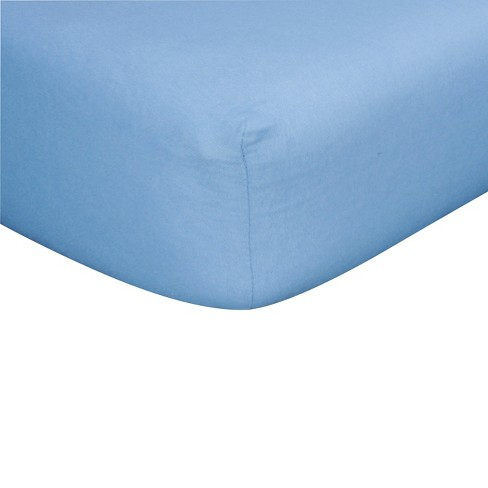 Blue Flannel Fitted Crib Sheet - image 1 of 2