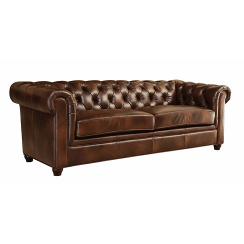 Keswick Tufted Leather Sofa Brown - Abbyson Living : Target