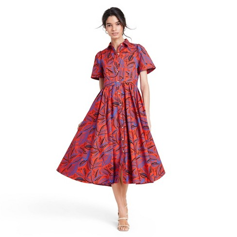 Tropical Leaf Short SleeveShirtdress - ALEXIS for Target Orange/Blue XXS