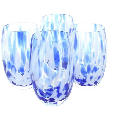Blue Rose Polish Pottery Cobalt and Opal Confetti Water Glass Set