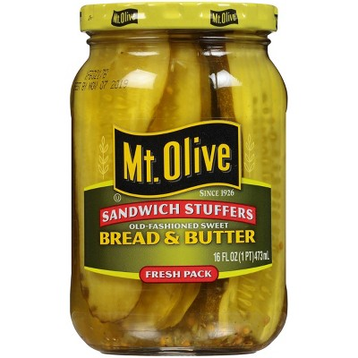 Mt. Olive Sandwich Stuffers Old-Fashioned Sweet Bread and Butter Pickle Slices - 16oz