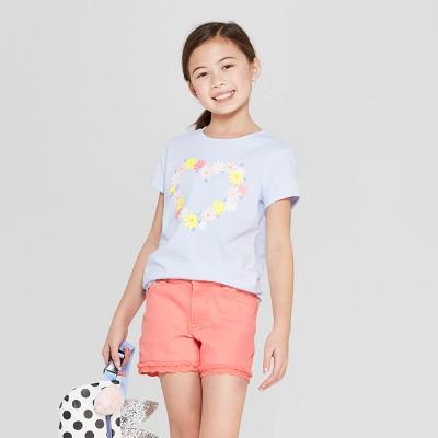 d1e23a52b8c03 Girls  Short Sleeve Flower Heart Printed Graphic T-Shirt - Cat  ™ Blue