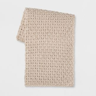 "60""x50"" Chunky Knit Throw Blanket Cream - Threshold™"