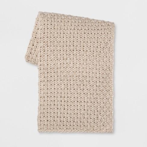 "60""x50"" Chunky Knit Throw Blanket Cream - Threshold™ - image 1 of 4"