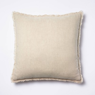 Oversized Square Linen Throw Pillow with Contrast Frayed Edges Neutral/Cream - Threshold™ designed with Studio McGee