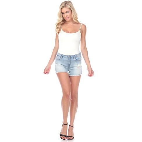 Women's Mid Ripped Stretch Denim Shorts - White Mark - image 1 of 4