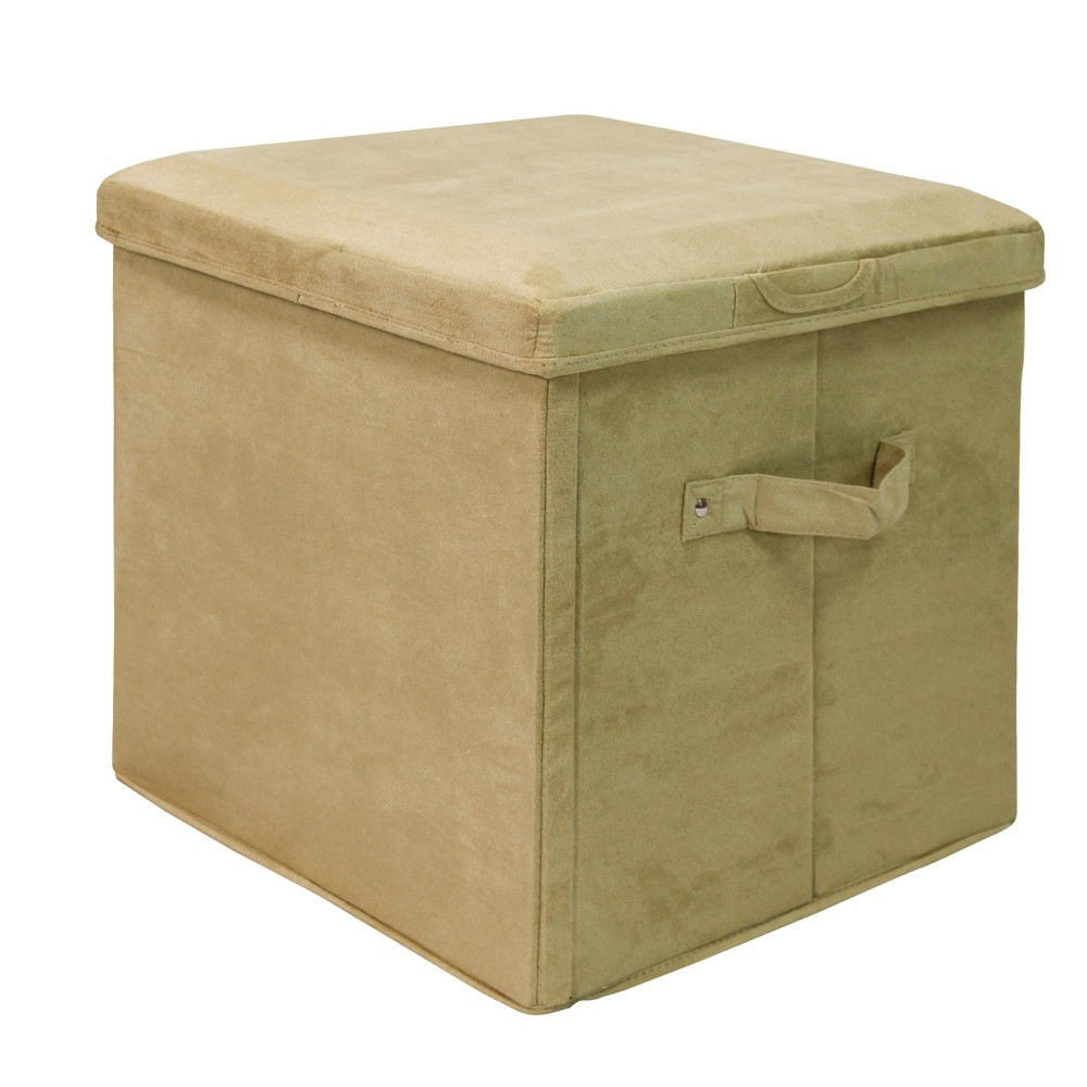 Best Online Seat Pad Folding Storage Ottoman Micro Suede Cover Khaki Green Flora Home