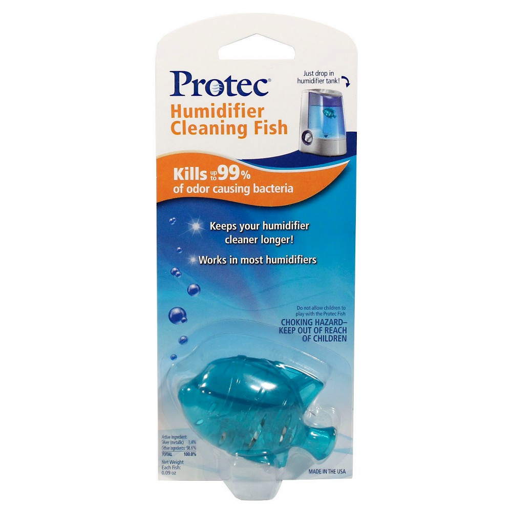 Protec Humidifier Cleaning Fish - 1ct, White The Protec Humidifier Cleaning Fish features a patented antimicrobial, Aquastat, that helps keeps your humidifier cleaner, longer. It helps kills up to 99 percent of odor causing bacteria. Simply drop in your humidifier tank for fresh, clean mist! Compatible With: Vicks humidifiers, Vornado humidifiers, Honeywell humidifiers, and humidifiers with tank openings larger than 1.6in/4cm Color: White.