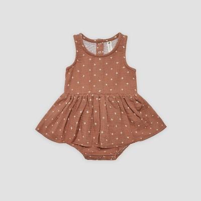 Q by Quincy Mae Baby Girls' Gauze Bodysuit Dress - Clay Brown