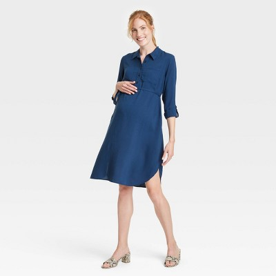 Long Sleeve Button-Front Maternity Dress - Isabel Maternity by Ingrid & Isabel™ Blue