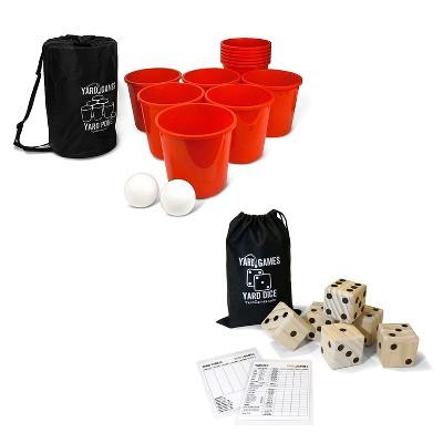 Yard Games Giant Outdoor Yard Pong Activity Party Set w/ 12 Buckets & 2 Balls Bundle w/ Giant Outdoor Indoor Wooden Dice Set w/ Scorecards & Case