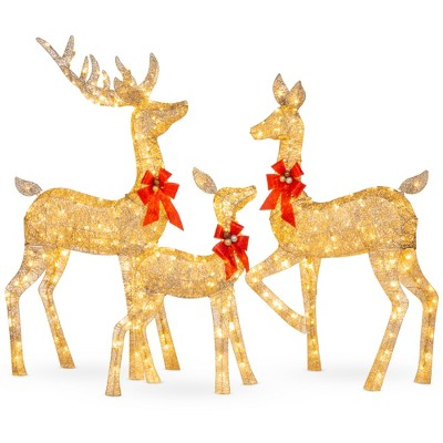 Best Choice Products 3-Piece Lighted Christmas Deer Set Outdoor Yard Decoration with 360 LED Lights, Stakes - Gold