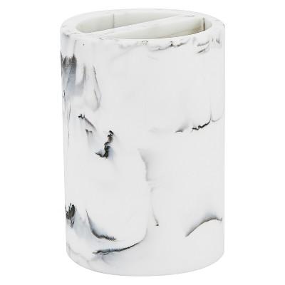 Arabesco Bathroom Coordinate Dip Dye Design Toothbrush Holder White/Black - Kassatex®