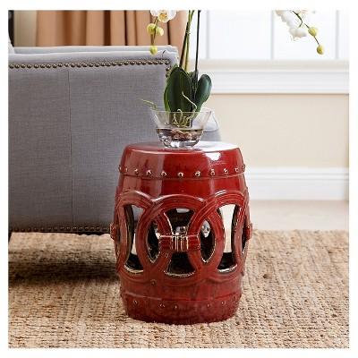 Moroccan Red Ceramic Garden Stool   Abbyson Living : Target