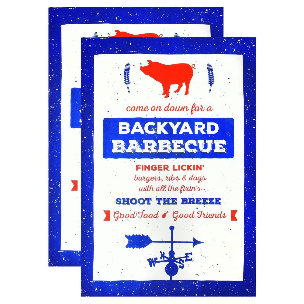 Backyard Barbeque Designer Towel Set Blue (20X30) - Mu Kitchen, Blue Graphic