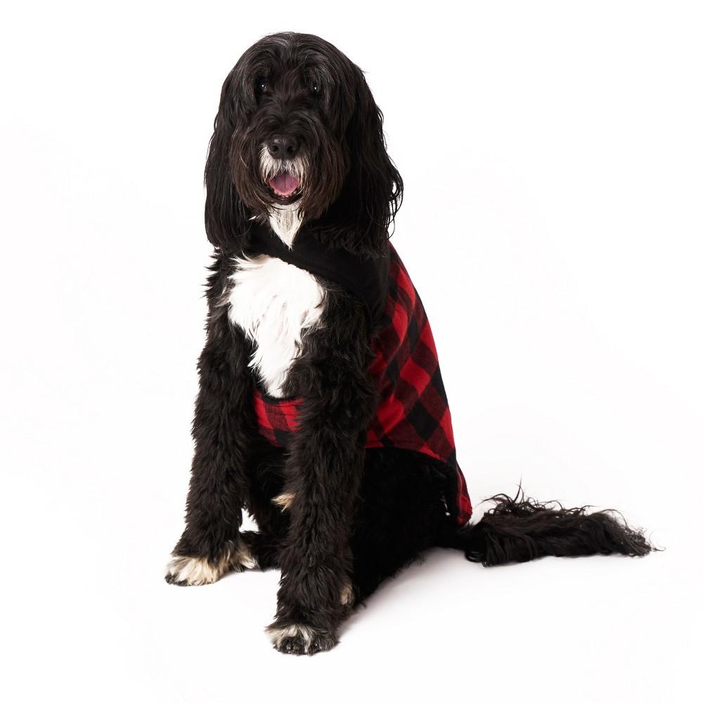 Royal Animals Check Dog Jacket - Red & Black - L, Pink