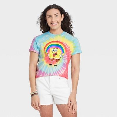 Pride Gender Inclusive Adult SpongeBob SquarePants Tie-Dye Short Sleeve Graphic T-Shirt
