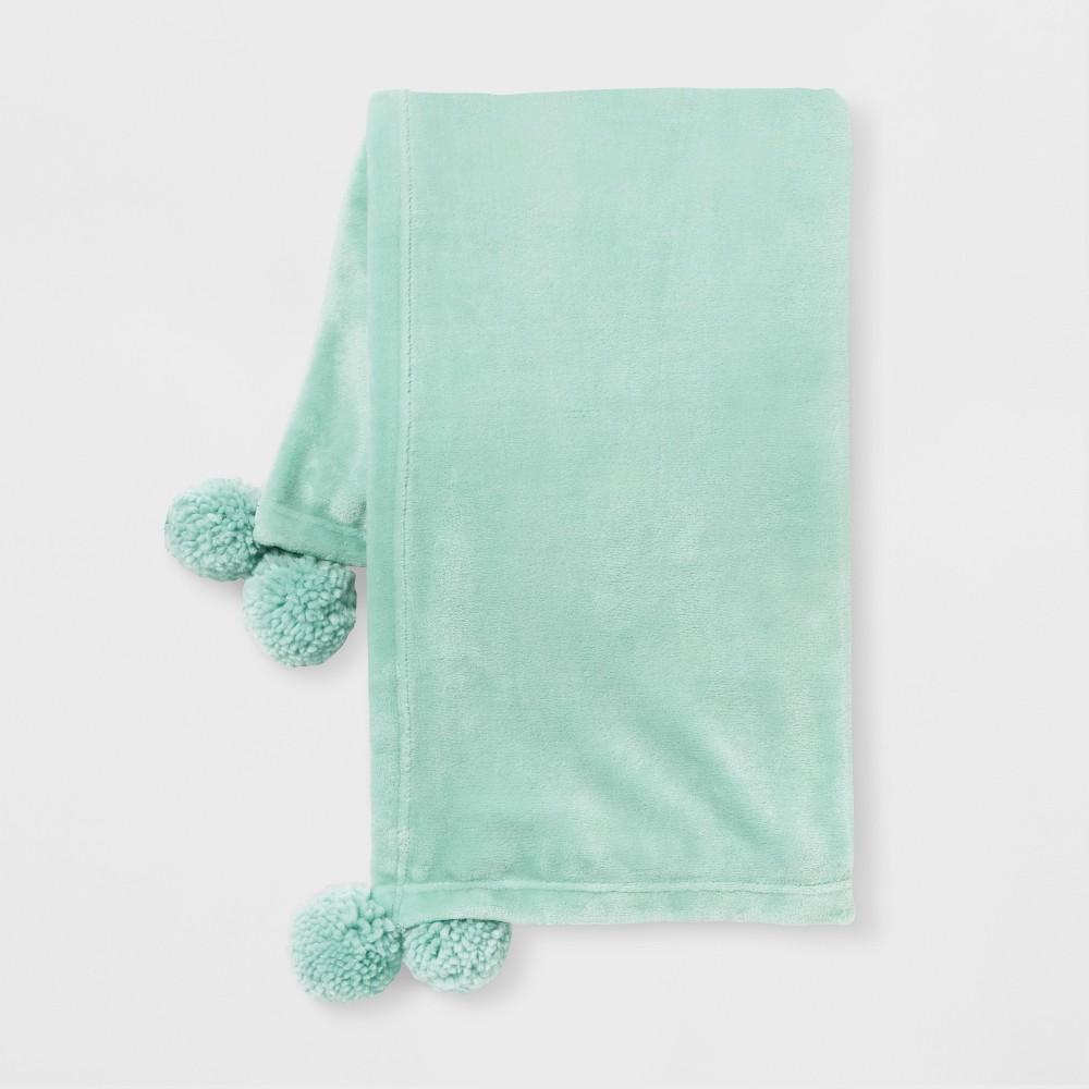 Pom Plush Throw Blanket Mint Green - Room Essentials