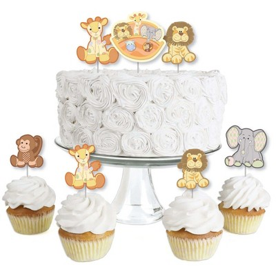 Big Dot of Happiness Noah's Ark - Dessert Cupcake Toppers - Baby Shower Clear Treat Picks - Set of 24