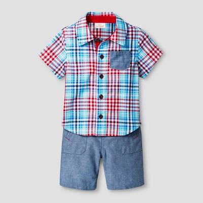 Baby Boys' Woven Shirt and Shorts Set - Cat & Jack™ Red Plaid/Blue 6-9 Months