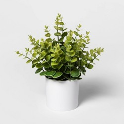 "12"" x 10"" Artificial Eucalyptus Plant Arrangement in Pot White - Project 62™"