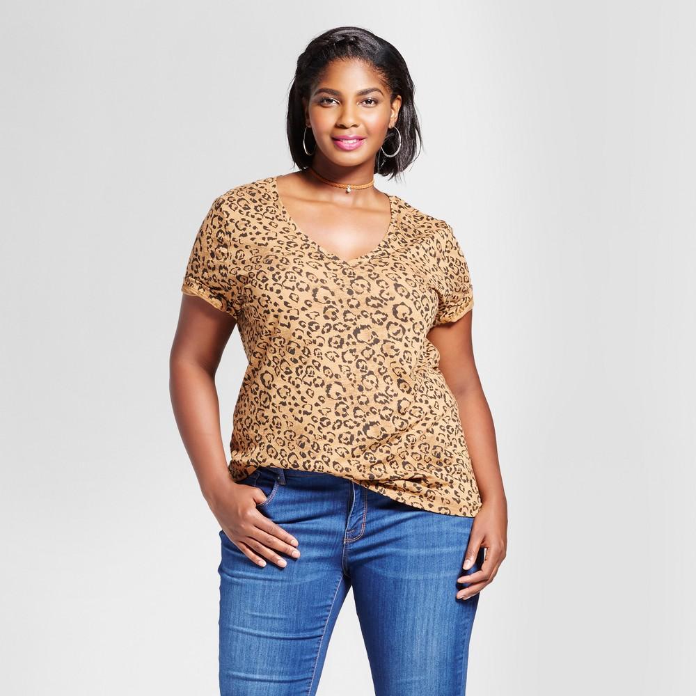 Women's Plus Size Animal Print V-Neck T-Shirt - Ava & Viv Tan/Brown 1X, Brown Cork