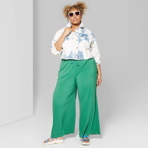 Women\'s Plus Size High-Rise Wide Leg Pleated Pants - Wild Fable™ Green  Succulent