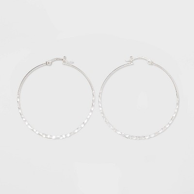 Sterling Silver Large Hammered Round Click Top Hoop Earrings - Universal Thread™ Silver