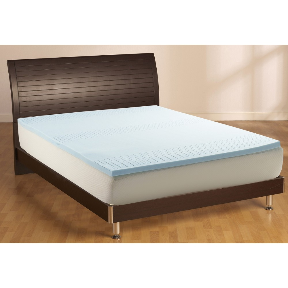 """Image of """"California King 2"""""""" Cooling Gel Mattress Topper White - Made By Design , White Blue"""""""