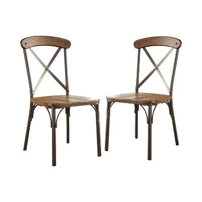 Set of 2 LaurencioX Crossed Back w/Wooden Seat Side Chair Natural Elm/Bronze - HOMES: Inside + Out