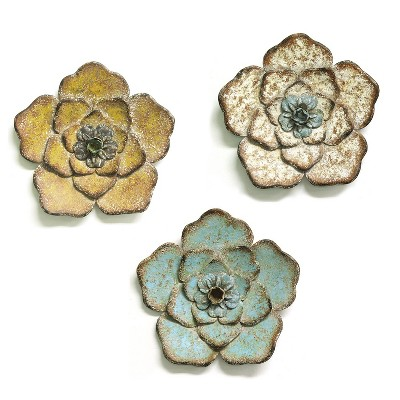 Stratton Home Decor S09593 Set of 3 Metal Rustic Flower Wall Decor, Multicolor