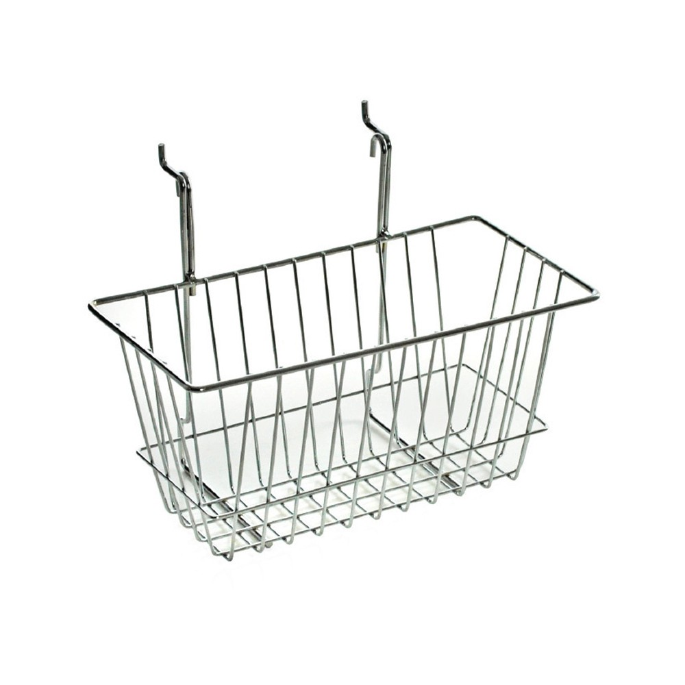 Image of Azar 6.25 Chrome Wire Basket 2ct, Clear