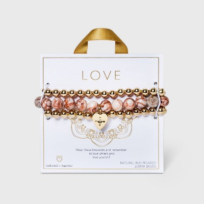 Beloved + Inspired Gold Rose Quartz and Red Picasso Jasper with Heart Charm Trio Stretch Bead Bracelet Set - Pink Rose