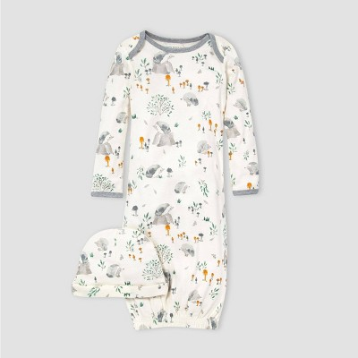 Burt's Bees Baby® Baby Organic Cotton Hedgehog Forest Nightgown with Cap - White 0-6M