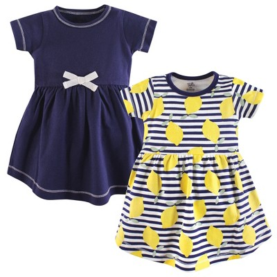Touched by Nature Baby and Toddler Girl Organic Cotton Short-Sleeve Dresses 2pk, Lemons