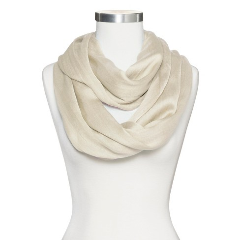 Women's Solid Infinity Scarf - Ivory - image 1 of 2