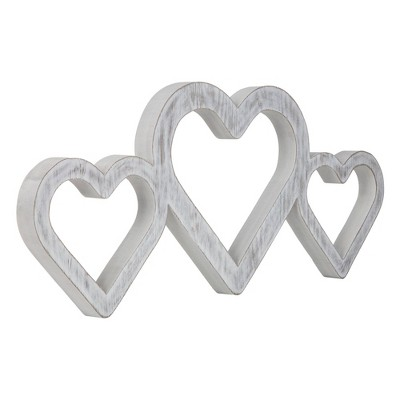 Large Triple Heart Wood Cut Out Word Wall Decor White - Patton Wall Decor