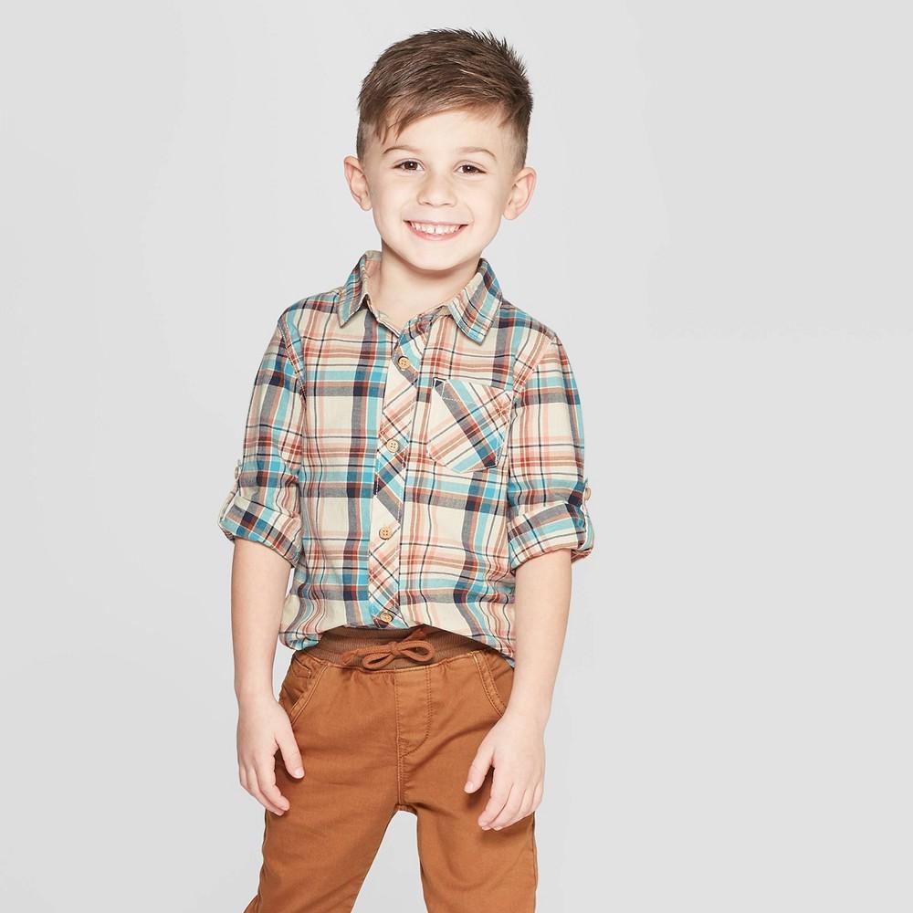 Genuine Kids from OshKosh Toddler Boys' Long Sleeve Plaid Button-Down Shirt - Cream 12M, Beige