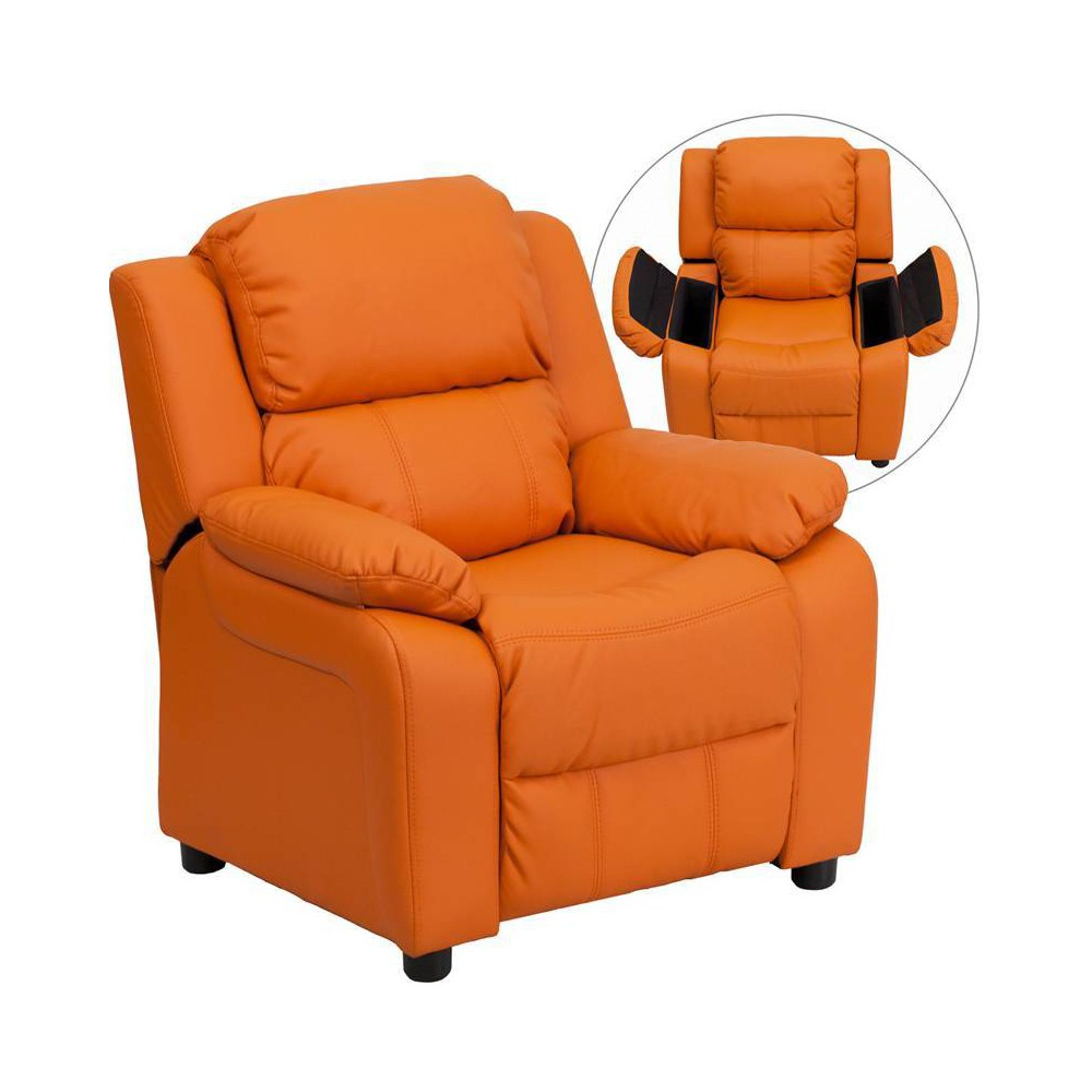 Deluxe Padded Contemporary Kids Recliner with Storage Arms Vinyl Orange - Riverstone Furniture