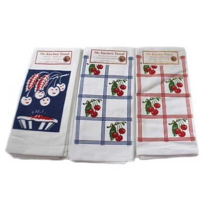 """Tabletop 24.0"""" Cherries Or Cherry Pie Towels Set/3 100% Cotton Retro Design Red And White Kitchen Company  -  Kitchen Towel"""